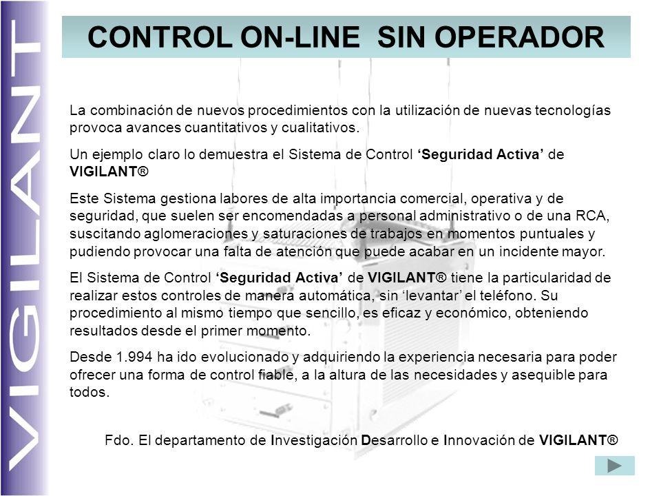 CONTROL ON-LINE SIN OPERADOR La combinación de nuevos procedimientos con la utilización de nuevas tecnologías provoca avances cuantitativos y cualitativos.