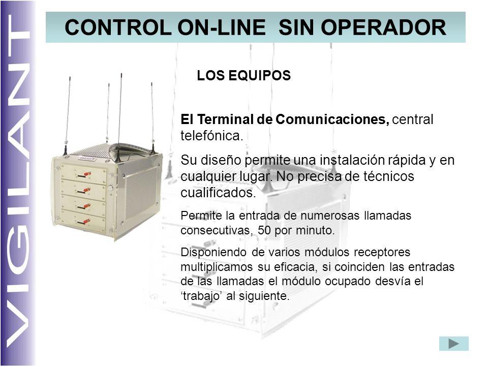 CONTROL ON-LINE SIN OPERADOR El Terminal de Comunicaciones, LOS EQUIPOS El Terminal de Comunicaciones, central telefónica. Su diseño permite una insta