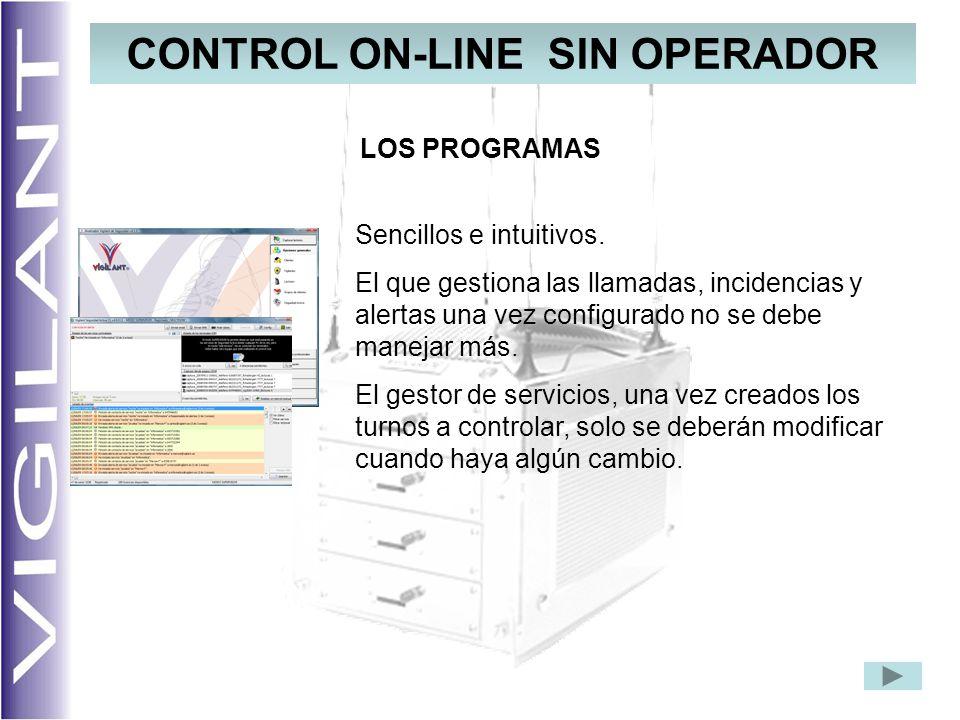 CONTROL ON-LINE SIN OPERADOR LOS PROGRAMAS Sencillos e intuitivos. El que gestiona las llamadas, incidencias y alertas una vez configurado no se debe