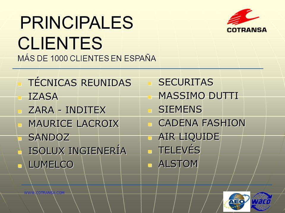 PRINCIPALES CLIENTES PRINCIPALES CLIENTES MÁS DE 1000 CLIENTES EN ESPAÑA SECURITAS SECURITAS MASSIMO DUTTI MASSIMO DUTTI SIEMENS SIEMENS CADENA FASHIO