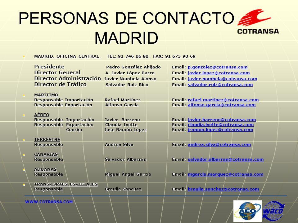 PERSONAS DE CONTACTO MADRID MADRID. OFICINA CENTRAL TEL: 91 746 06 80 FAX: 91 673 90 69 MADRID. OFICINA CENTRAL TEL: 91 746 06 80 FAX: 91 673 90 69 Pr