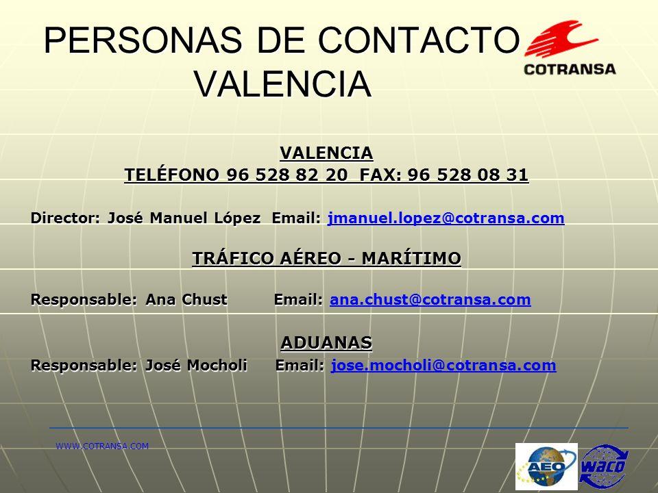 PERSONAS DE CONTACTO VALENCIA VALENCIA TELÉFONO 96 528 82 20 FAX: 96 528 08 31 Director: José Manuel López Email: Director: José Manuel López Email: j