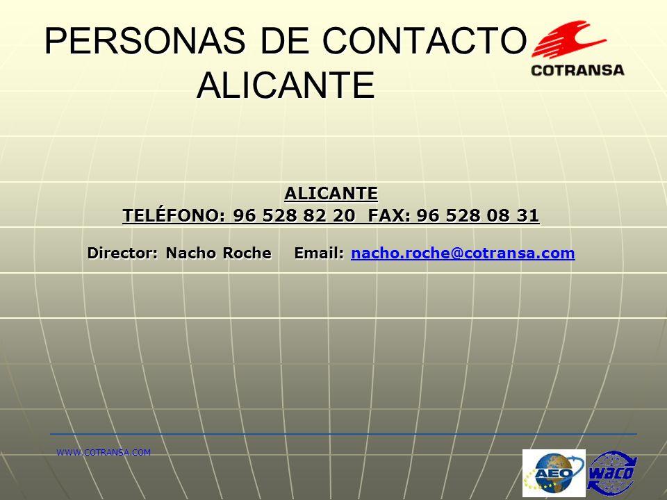 PERSONAS DE CONTACTO ALICANTE ALICANTE TELÉFONO: 96 528 82 20 FAX: 96 528 08 31 Director: Nacho Roche Email: Director: Nacho Roche Email: nacho.roche@