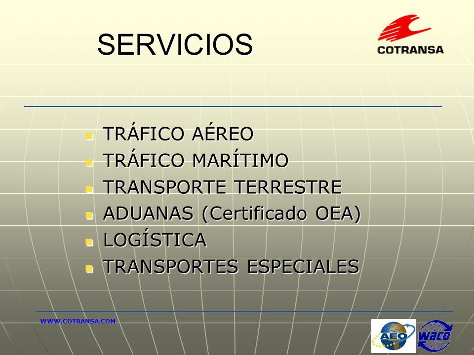 SERVICIOS TRÁFICO AÉREO TRÁFICO AÉREO TRÁFICO MARÍTIMO TRÁFICO MARÍTIMO TRANSPORTE TERRESTRE TRANSPORTE TERRESTRE ADUANAS (Certificado OEA) ADUANAS (C