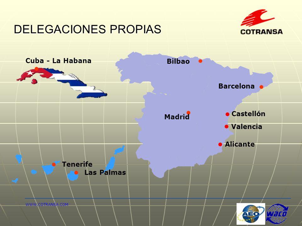 DELEGACIONES PROPIAS Alicante Barcelona Valencia Las Palmas Cuba - La Habana WWW.COTRANSA.COM Tenerife Bilbao Castellón Madrid