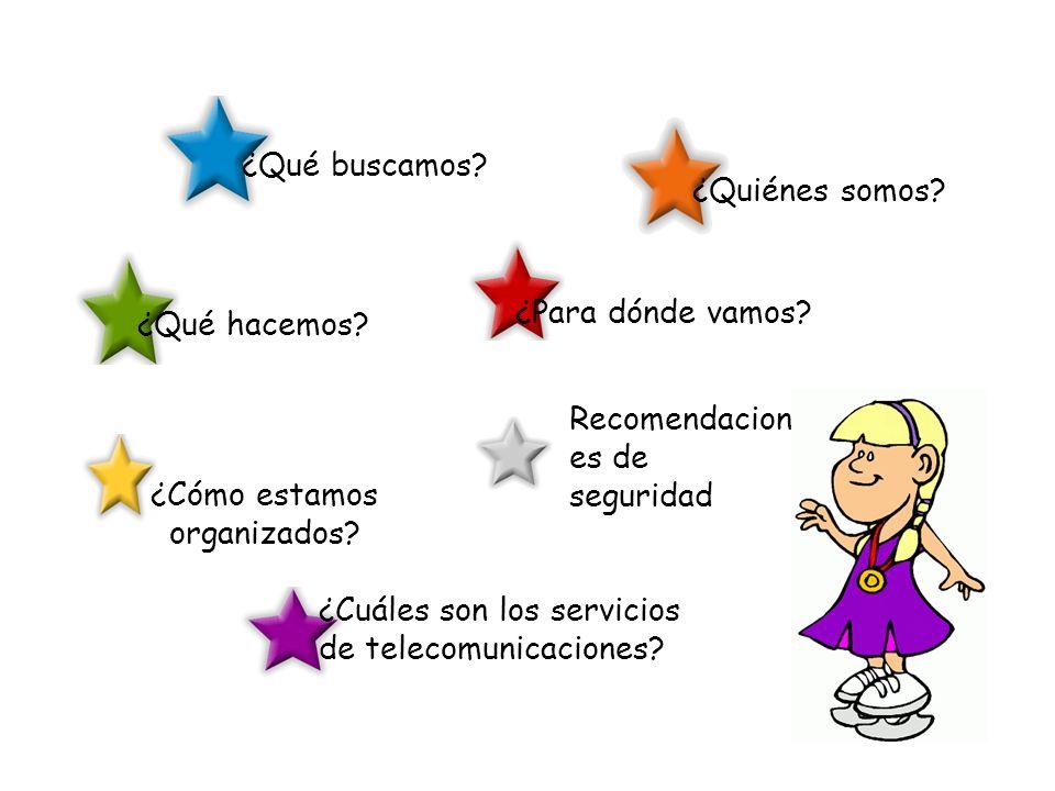 ¿Quiénes somos? ¿Qué buscamos? ¿Cómo estamos organizados? ¿Cuáles son los servicios de telecomunicaciones? ¿Para dónde vamos? ¿Qué hacemos? Recomendac