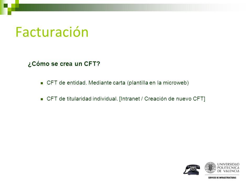 Facturación ¿Cómo se crea un CFT? CFT de entidad. Mediante carta (plantilla en la microweb) CFT de titularidad individual. [Intranet / Creación de nue