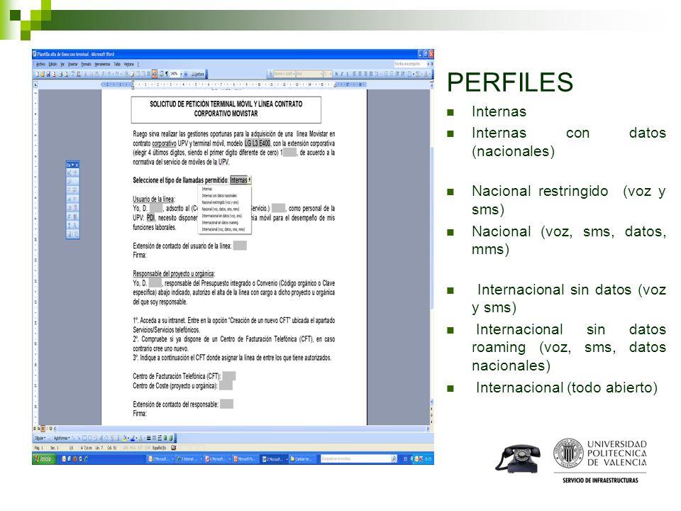 PERFILES Internas Internas con datos (nacionales) Nacional restringido (voz y sms) Nacional (voz, sms, datos, mms) Internacional sin datos (voz y sms)