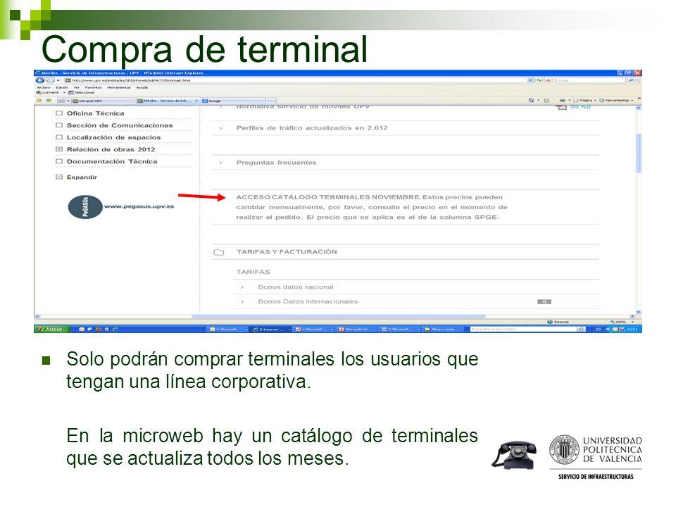 Compra de terminal Solo podrán comprar terminales los usuarios que tengan una línea corporativa. En la microweb hay un catálogo de terminales que se a