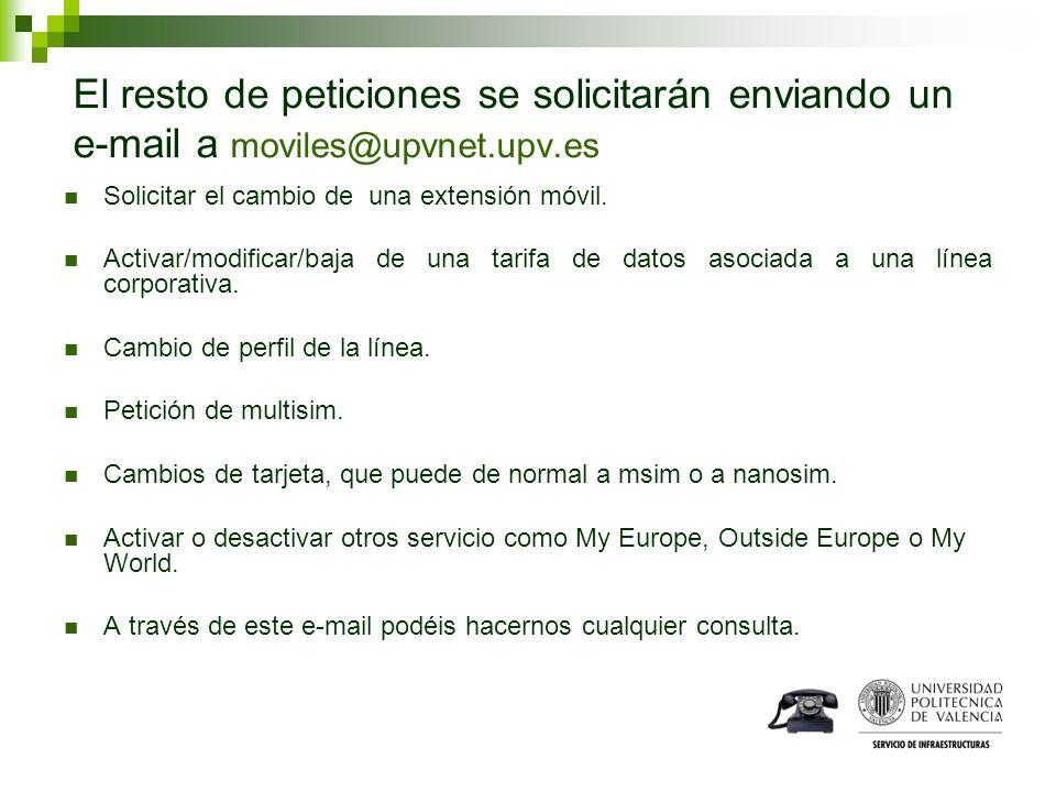 El resto de peticiones se solicitarán enviando un e-mail a moviles@upvnet.upv.es Solicitar el cambio de una extensión móvil. Activar/modificar/baja de