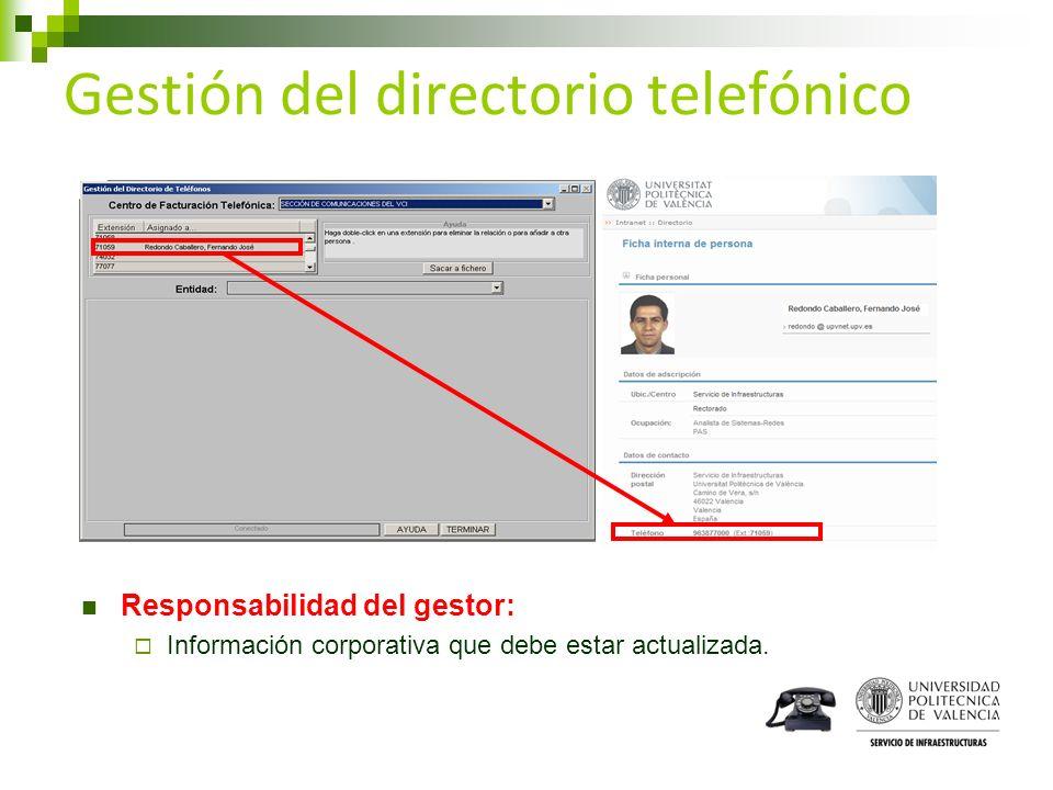 Gestión del directorio telefónico Responsabilidad del gestor: Información corporativa que debe estar actualizada.