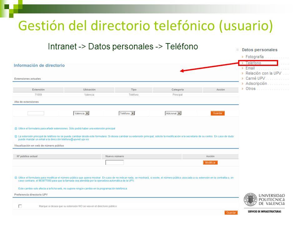 Gestión del directorio telefónico (usuario) Intranet -> Datos personales -> Teléfono