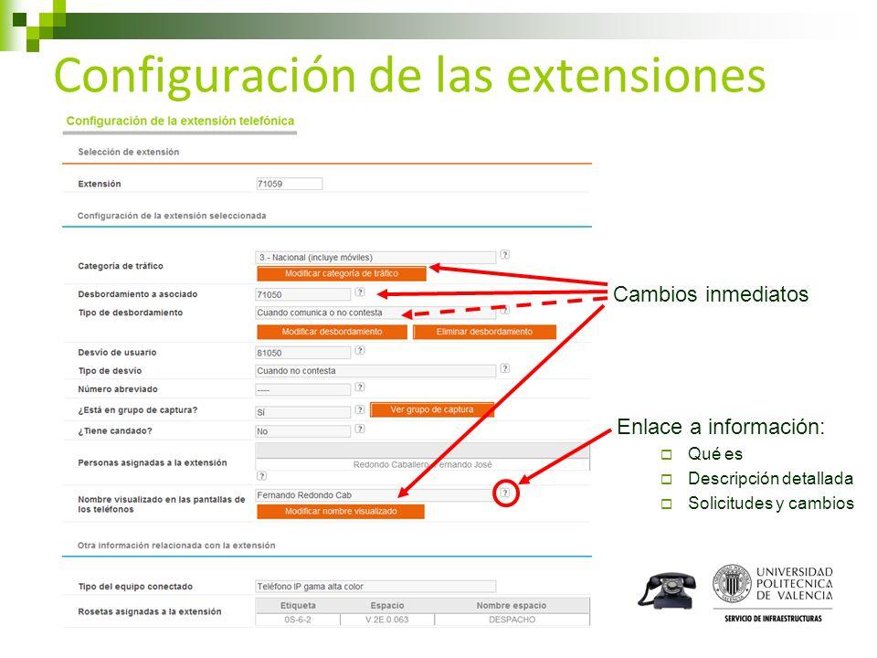 Enlace a información: Qué es Descripción detallada Solicitudes y cambios Configuración de las extensiones Cambios inmediatos