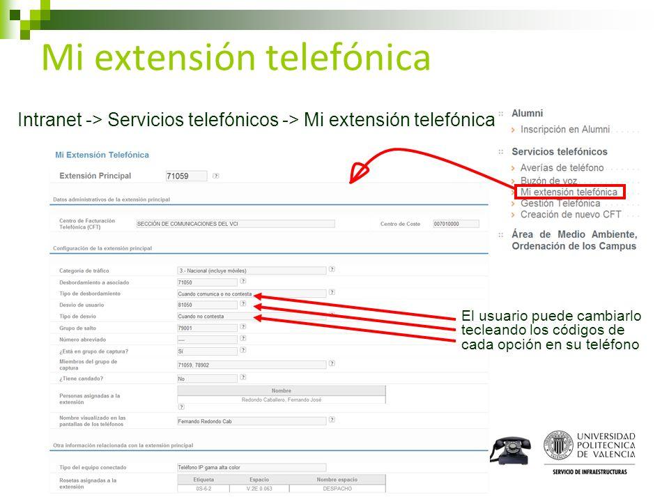 Mi extensión telefónica Intranet -> Servicios telefónicos -> Mi extensión telefónica El usuario puede cambiarlo tecleando los códigos de cada opción e