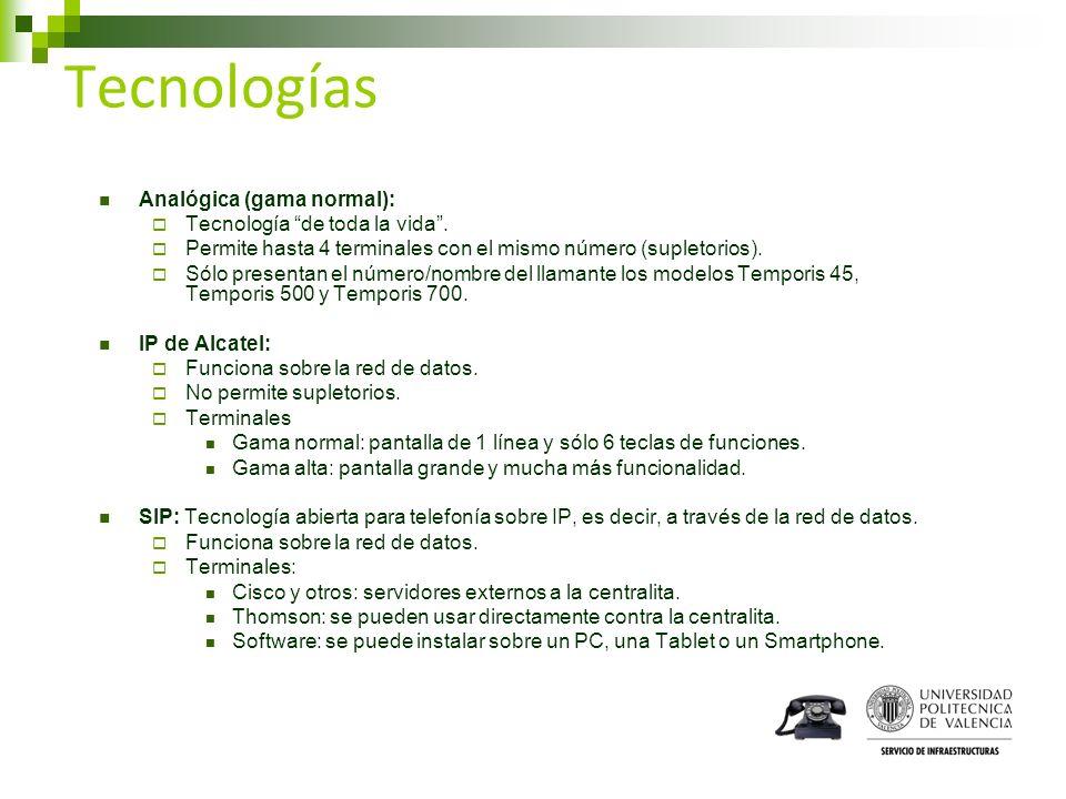 Tecnologías Analógica (gama normal): Tecnología de toda la vida. Permite hasta 4 terminales con el mismo número (supletorios). Sólo presentan el númer