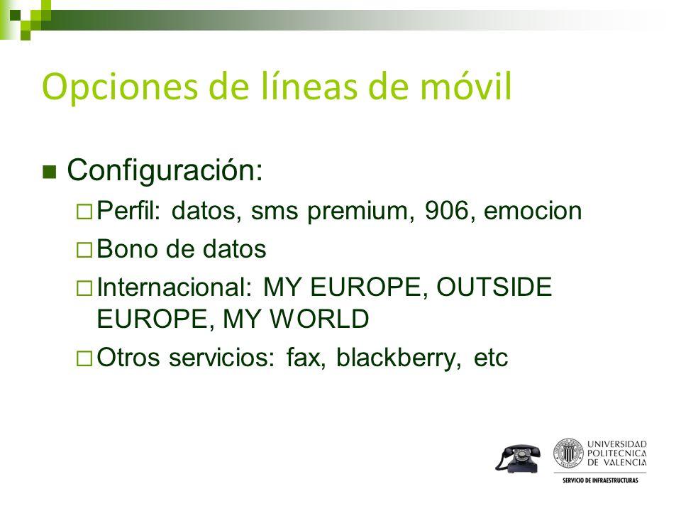 Opciones de líneas de móvil Configuración: Perfil: datos, sms premium, 906, emocion Bono de datos Internacional: MY EUROPE, OUTSIDE EUROPE, MY WORLD O