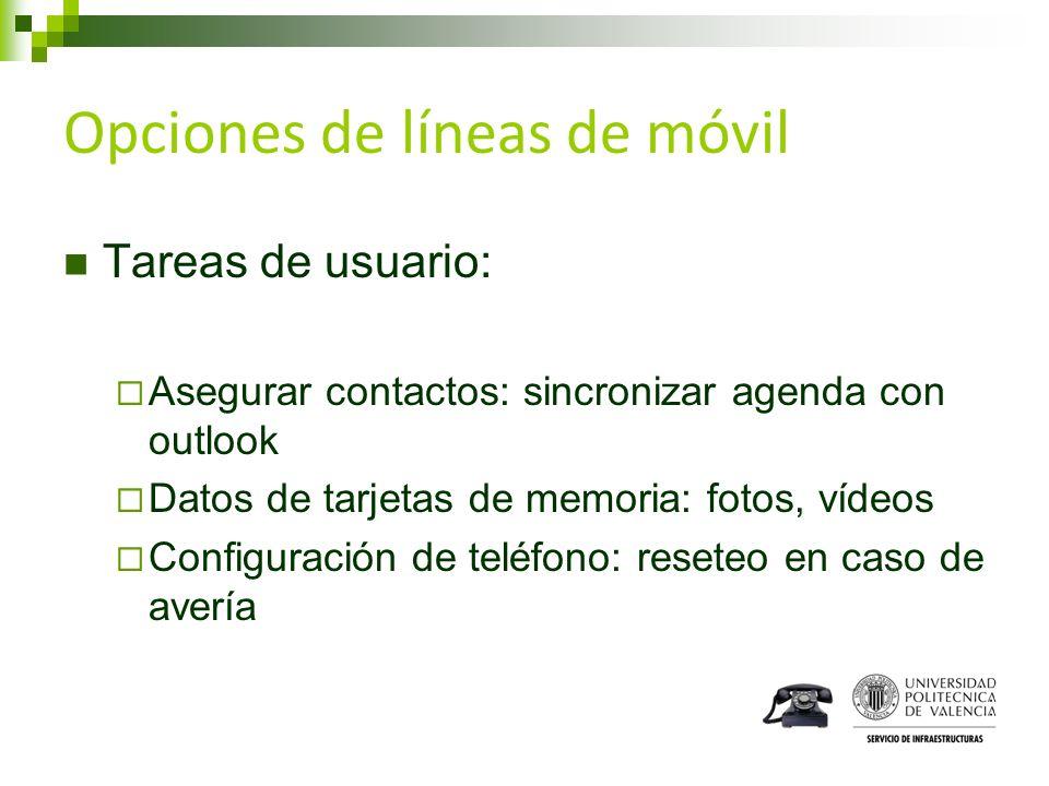 Opciones de líneas de móvil Tareas de usuario: Asegurar contactos: sincronizar agenda con outlook Datos de tarjetas de memoria: fotos, vídeos Configur