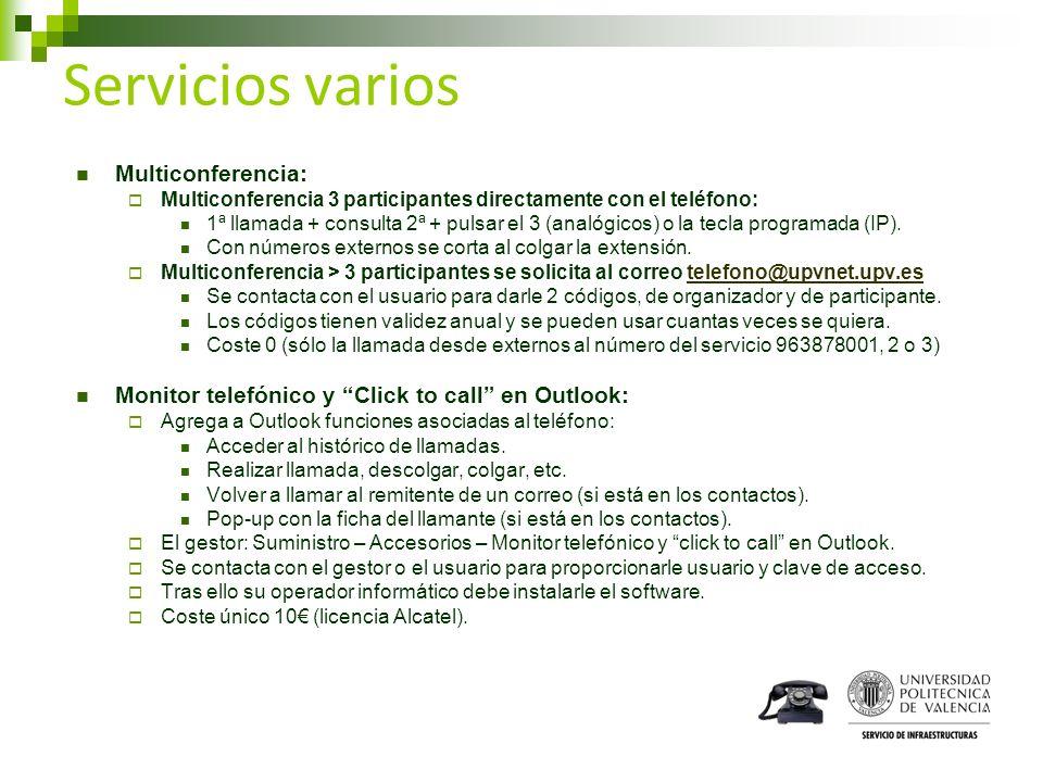 Servicios varios Multiconferencia: Multiconferencia 3 participantes directamente con el teléfono: 1ª llamada + consulta 2ª + pulsar el 3 (analógicos)