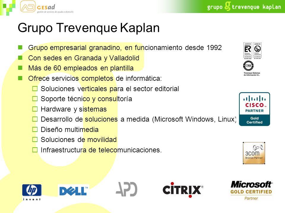 Grupo Trevenque Kaplan Grupo empresarial granadino, en funcionamiento desde 1992 Con sedes en Granada y Valladolid Más de 60 empleados en plantilla Of