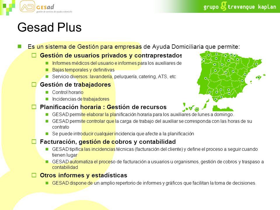 Gesad Plus Es un sistema de Gestión para empresas de Ayuda Domiciliaria que permite: Gestión de usuarios privados y contraprestados: Informes médicos