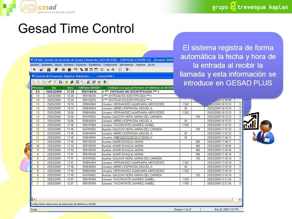 Gesad Time Control El auxiliar realiza una llamada GRATUITA desde su teléfono móvil o el teléfono fijo del usuario al sistema El sistema registra de forma automática la fecha y hora de la entrada al recibir la llamada y esta información se introduce en GESAD PLUS