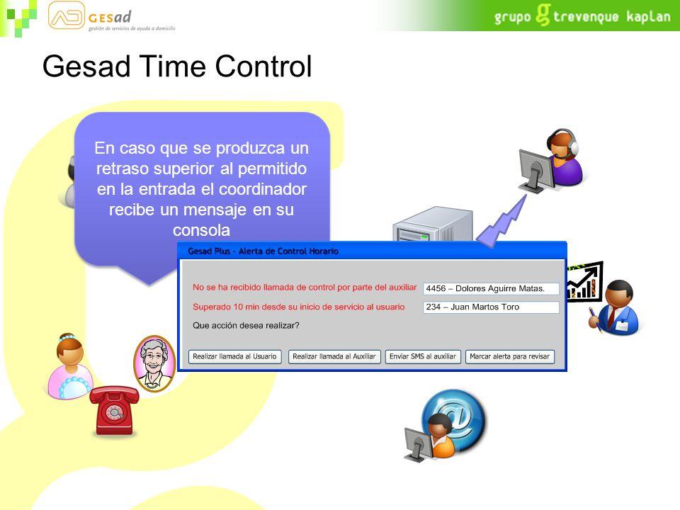 Gesad Time Control En caso que se produzca un retraso superior al permitido en la entrada el coordinador recibe un mensaje en su consola