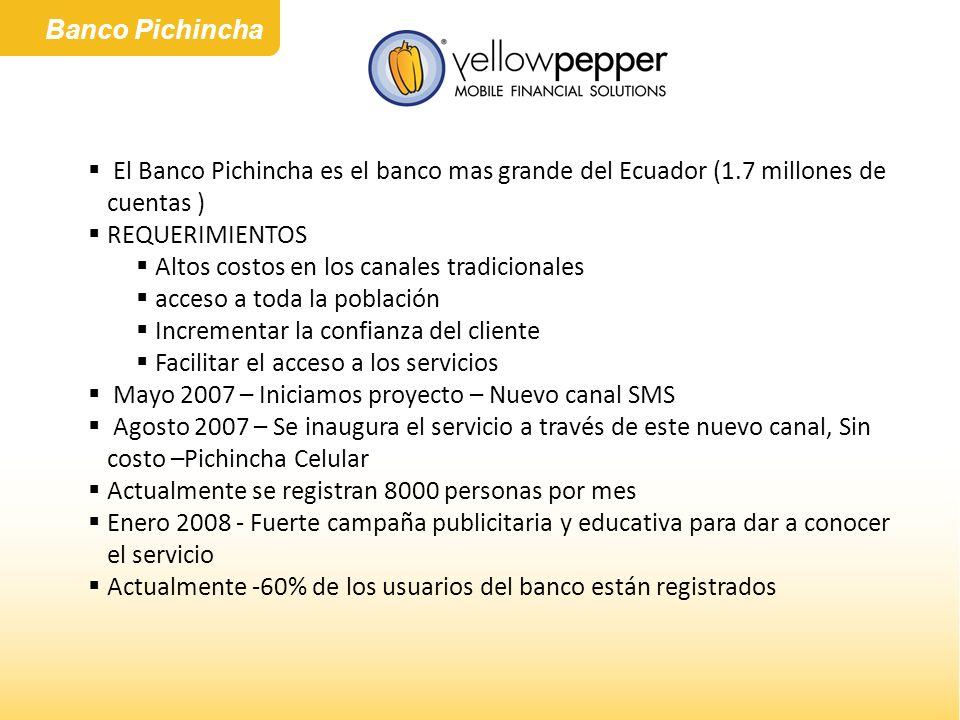 Banco Pichincha El Banco Pichincha es el banco mas grande del Ecuador (1.7 millones de cuentas ) REQUERIMIENTOS Altos costos en los canales tradiciona