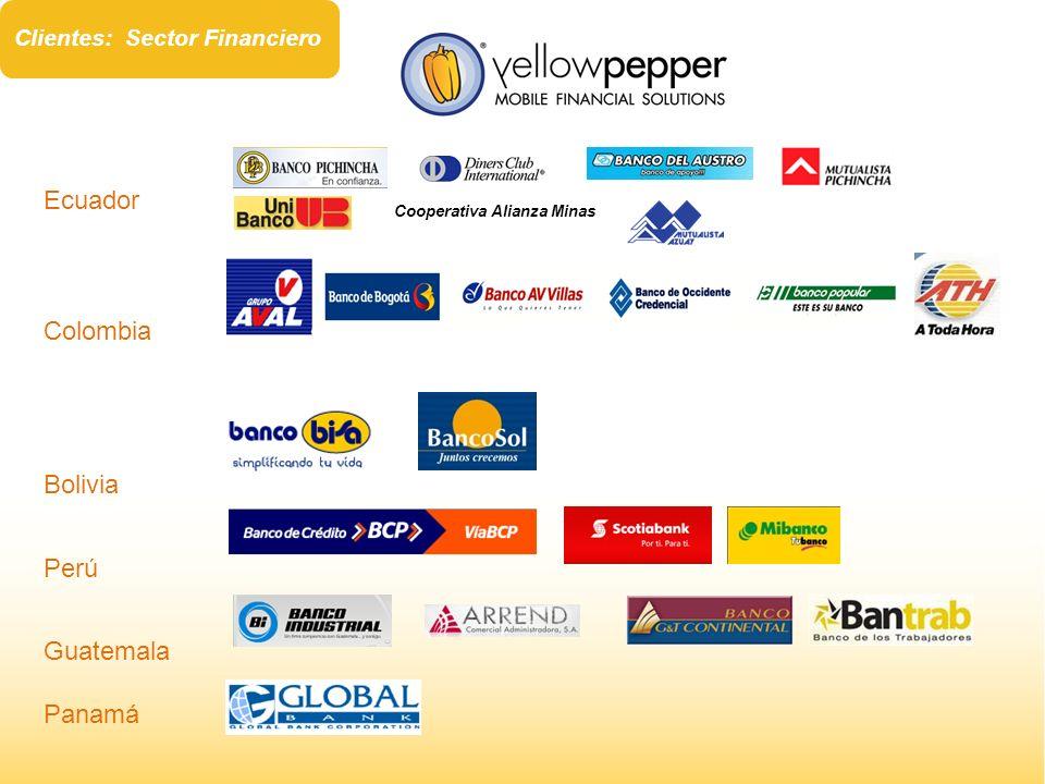 Ecuador Colombia Bolivia Perú Guatemala Panamá Cooperativa Alianza Minas Clientes: Sector Financiero
