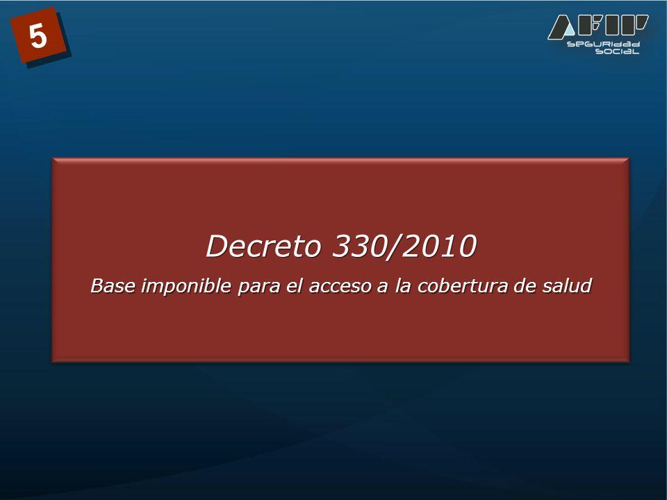 Decreto 330/2010 Base imponible para el acceso a la cobertura de salud Decreto 330/2010 Base imponible para el acceso a la cobertura de salud 5