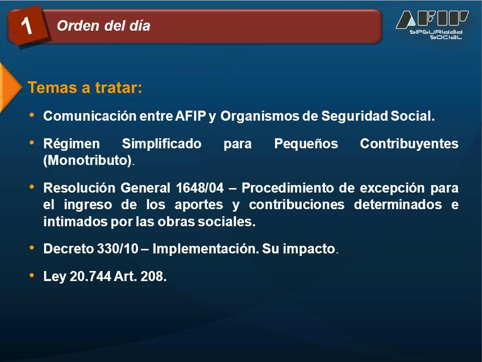 Temas a tratar: Comunicación entre AFIP y Organismos de Seguridad Social.