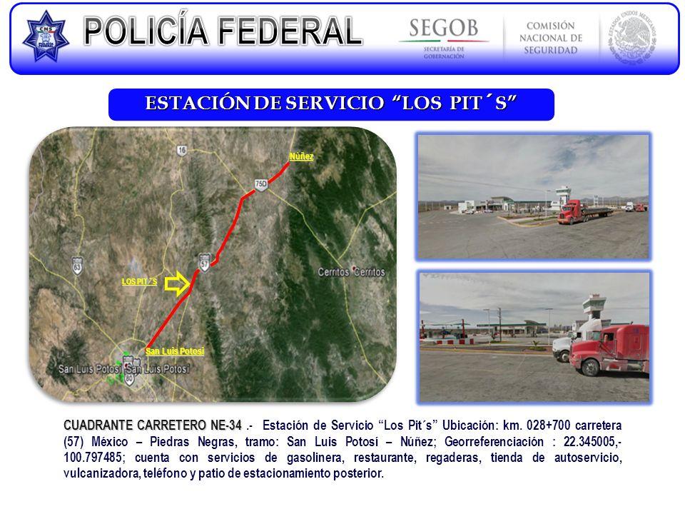 ESTACIÓN DE SERVICIO LOS PIT´S CUADRANTE CARRETERO NE-34 CUADRANTE CARRETERO NE-34.- Estación de Servicio Los Pit´s Ubicación: km. 028+700 carretera (
