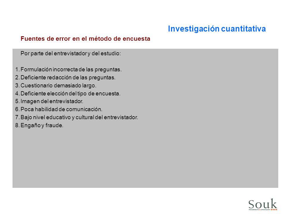 Investigación cuantitativa Fuentes de error en el método de encuesta Por parte del entrevistador y del estudio: 1.Formulación incorrecta de las pregun