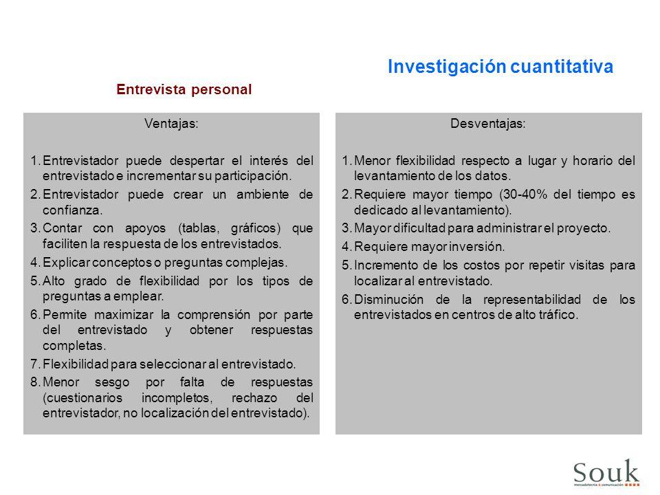 Investigación cuantitativa Entrevista personal Ventajas: 1.Entrevistador puede despertar el interés del entrevistado e incrementar su participación. 2