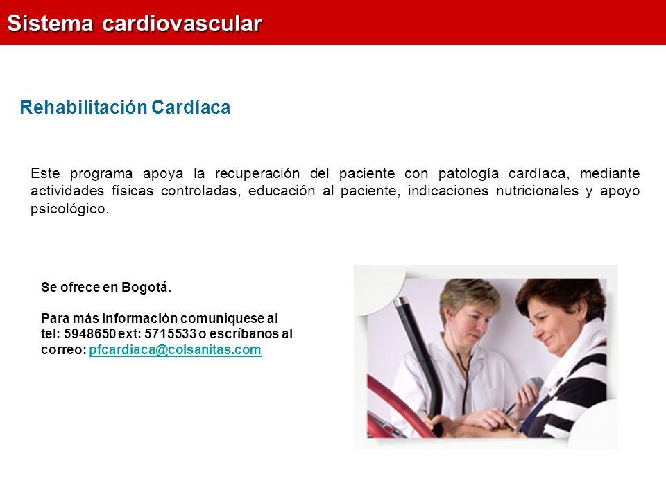Rehabilitación Cardíaca Sistema cardiovascular Se ofrece en Bogotá.
