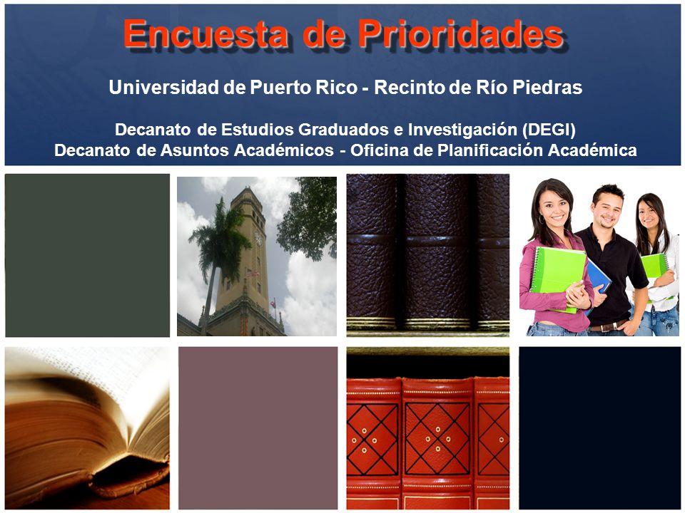 Encuesta de Prioridades Universidad de Puerto Rico - Recinto de Río Piedras Decanato de Estudios Graduados e Investigación (DEGI) Decanato de Asuntos