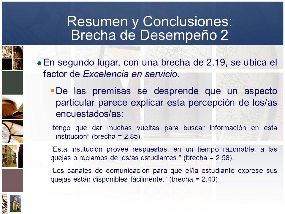 En segundo lugar, con una brecha de 2.19, se ubica el factor de Excelencia en servicio. De las premisas se desprende que un aspecto particular parece