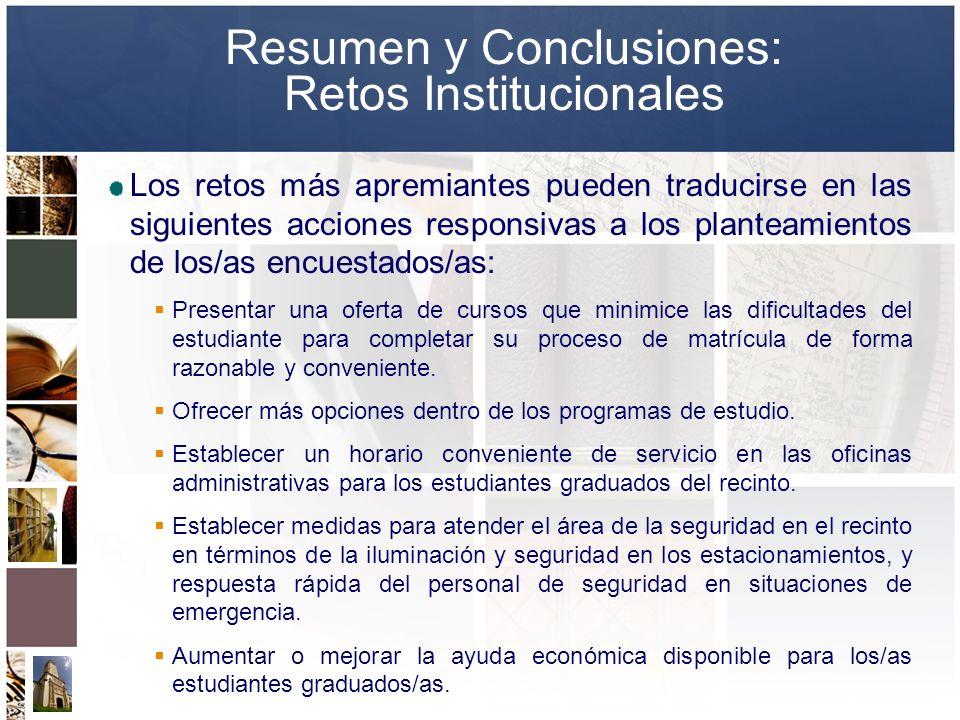 Resumen y Conclusiones: Retos Institucionales Los retos más apremiantes pueden traducirse en las siguientes acciones responsivas a los planteamientos
