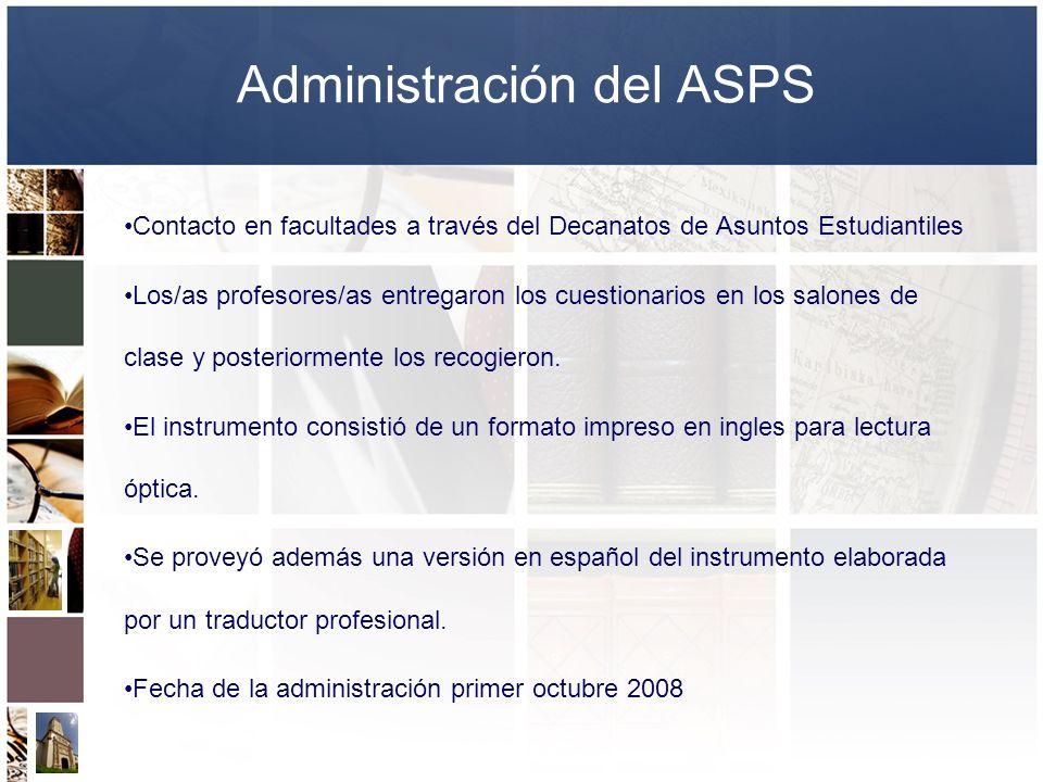 Administración del ASPS Contacto en facultades a través del Decanatos de Asuntos Estudiantiles Los/as profesores/as entregaron los cuestionarios en lo