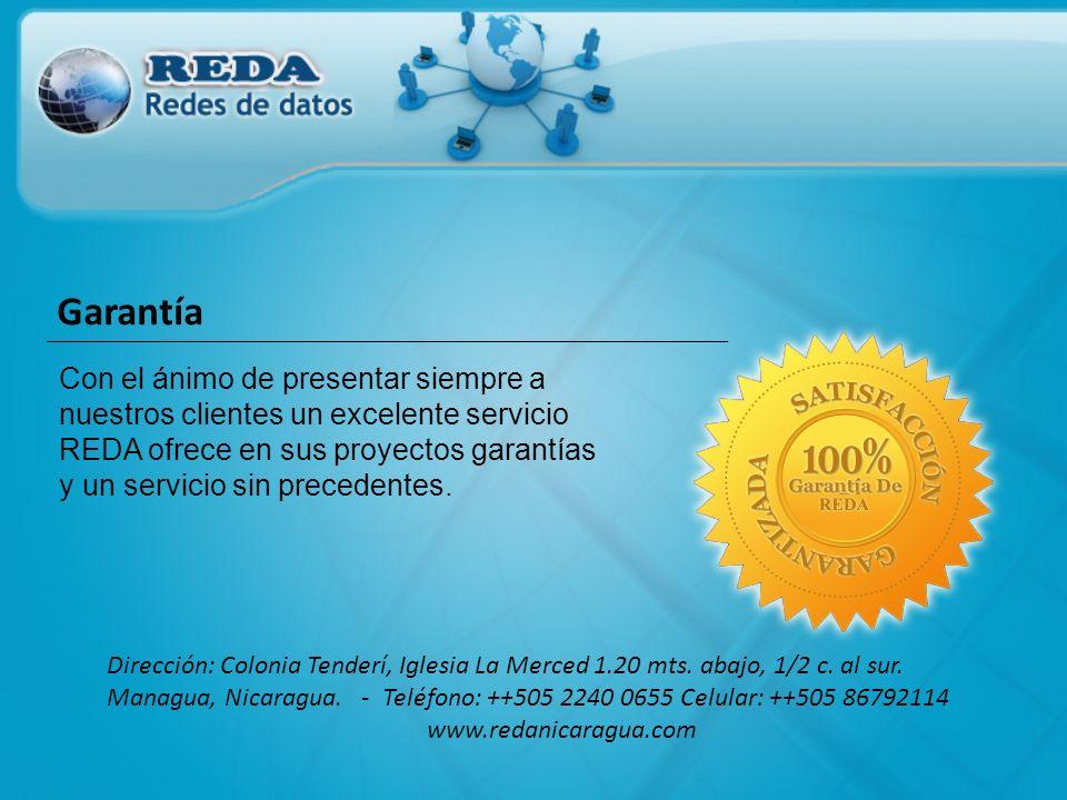 Con el ánimo de presentar siempre a nuestros clientes un excelente servicio REDA ofrece en sus proyectos garantías y un servicio sin precedentes. Dire