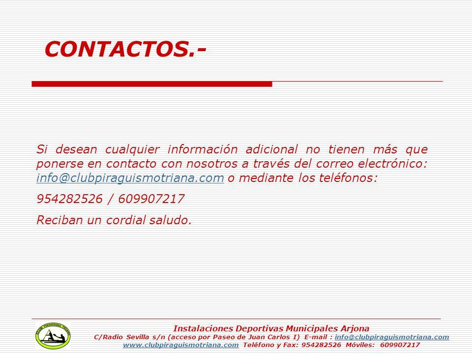 Si desean cualquier información adicional no tienen más que ponerse en contacto con nosotros a través del correo electrónico: info@clubpiraguismotrian