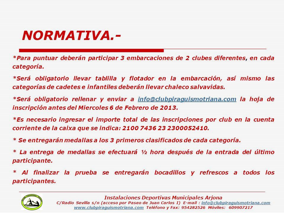 Instalaciones Deportivas Municipales Arjona C/Radio Sevilla s/n (acceso por Paseo de Juan Carlos I) E-mail : info@clubpiraguismotriana.cominfo@clubpir