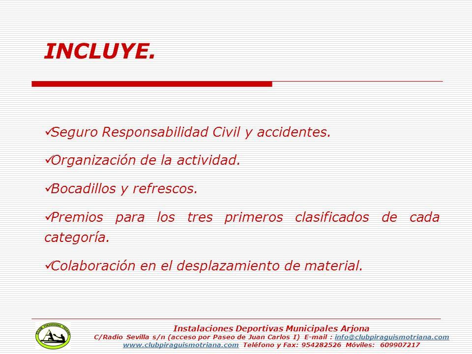 INCLUYE. Seguro Responsabilidad Civil y accidentes. Organización de la actividad. Bocadillos y refrescos. Premios para los tres primeros clasificados