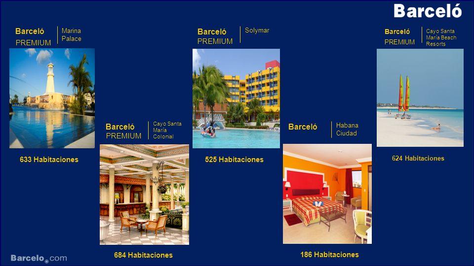 Barceló PREMIUM Cayo Santa María Beach Resorts 624 Habitaciones Barceló Solymar PREMIUM 525 Habitaciones Barceló Marina Palace PREMIUM 633 Habitacione