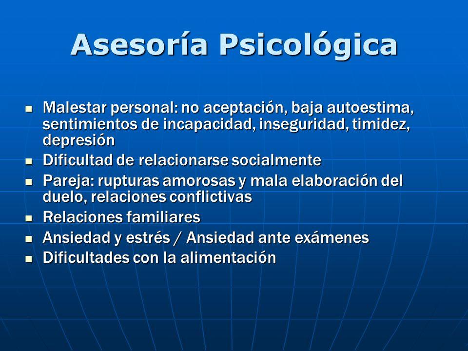 Asesoría Psicológica Malestar personal: no aceptación, baja autoestima, sentimientos de incapacidad, inseguridad, timidez, depresión Malestar personal