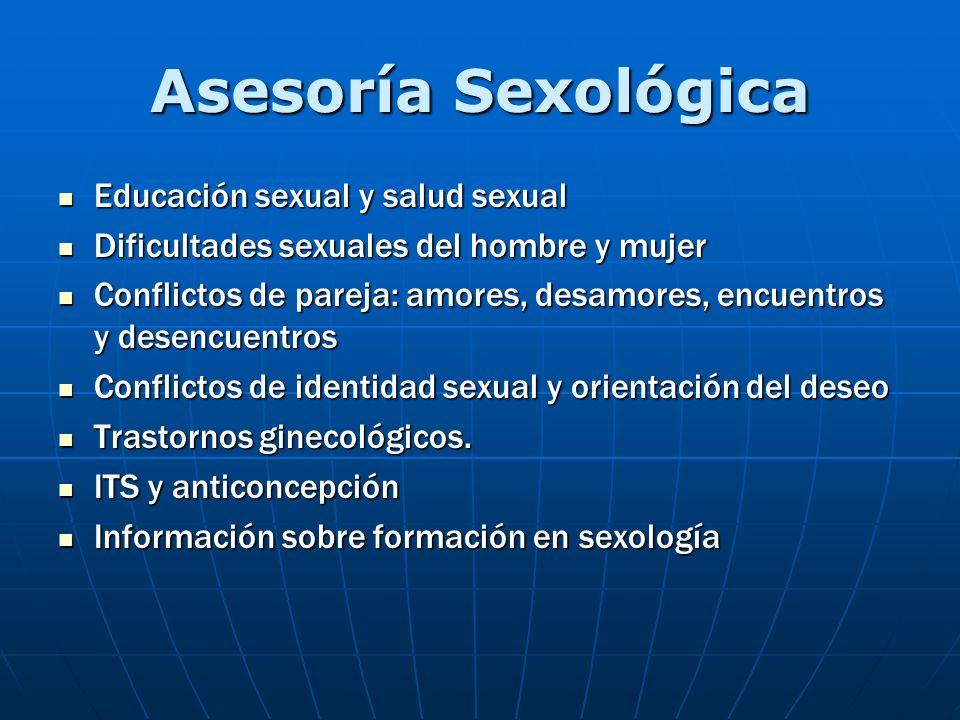 Asesoría Sexológica Educación sexual y salud sexual Educación sexual y salud sexual Dificultades sexuales del hombre y mujer Dificultades sexuales del