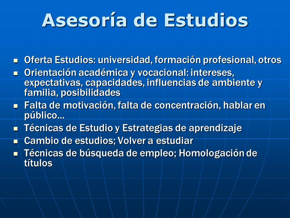 Asesoría de Estudios Oferta Estudios: universidad, formación profesional, otros Oferta Estudios: universidad, formación profesional, otros Orientación