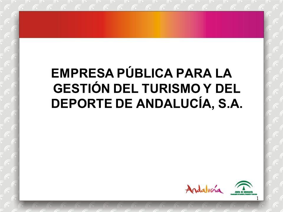 OFERTA DEPORTIVA La Empresa Pública para la Gestión del Turismo y del Deporte de Andalucía es una entidad adscrita a la Consejería de Turismo, Comercio y Deporte, que tiene entre otros fines, la gestión de las instalaciones deportivas que se pongan a su disposición.