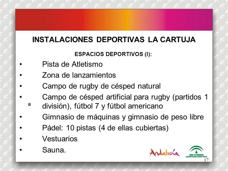 ESPACIOS DEPORTIVOS (I): Pista de Atletismo Zona de lanzamientos Campo de rugby de césped natural Campo de césped artificial para rugby (partidos 1 ª