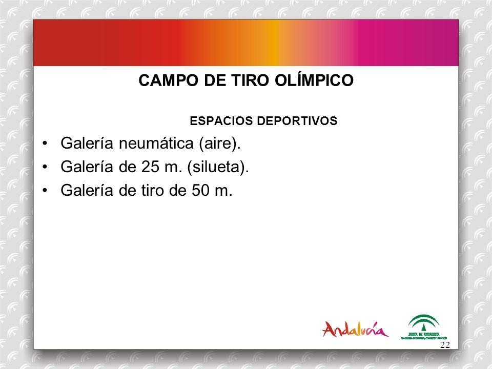 CAMPO DE TIRO OLÍMPICO ESPACIOS DEPORTIVOS Galería neumática (aire). Galería de 25 m. (silueta). Galería de tiro de 50 m. 22