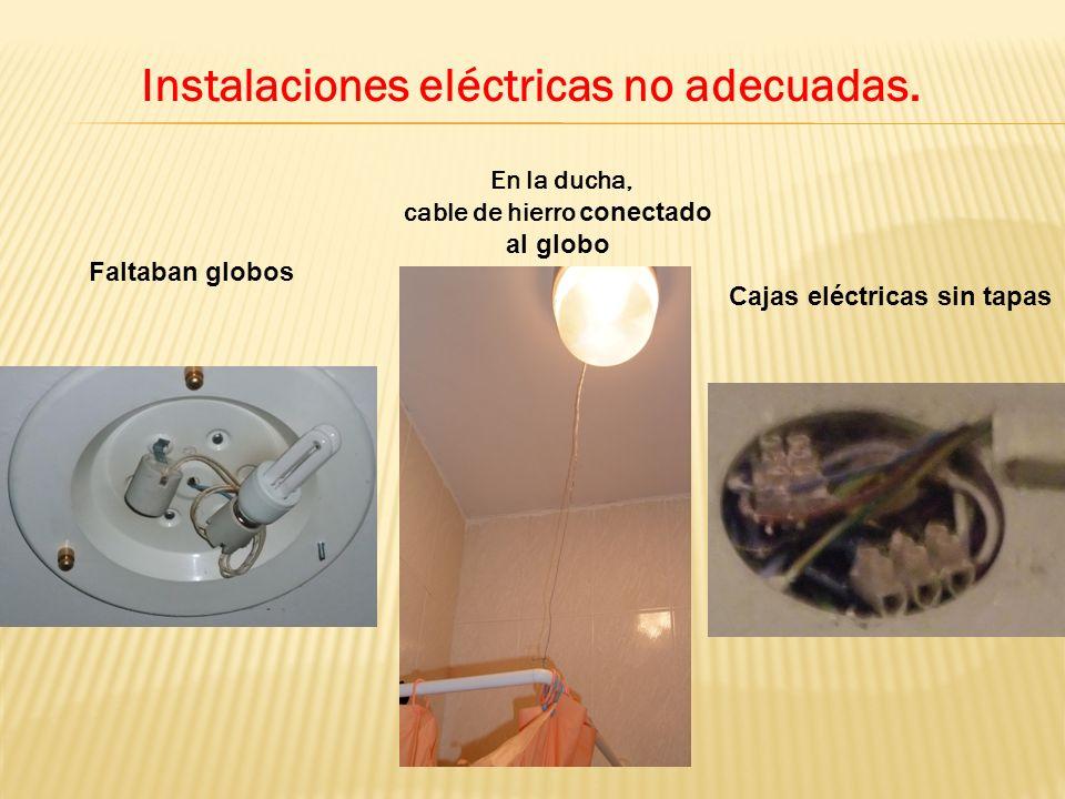Instalaciones eléctricas no adecuadas. Faltaban globos Cajas eléctricas sin tapas En la ducha, cable de hierro conectado al globo